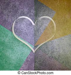 transparente, coração, valentines, cartão