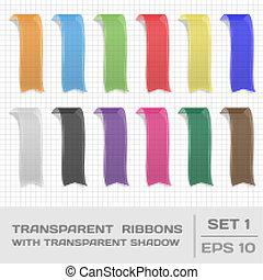 transparente, fitas, jogo, 1., etiquetas, bookmarks., vetorial