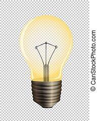 transparente, fundo, lightbulb