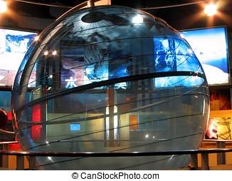 transparente, girar, globo