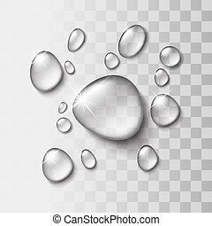 transparente, gota agua