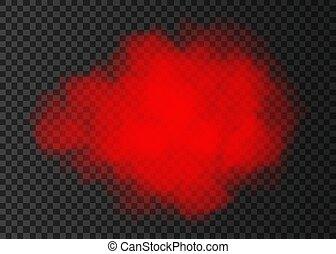 transparente, humo, aislado, nube, rojo, fondo.