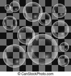 transparente, jabón burbujea, aislado