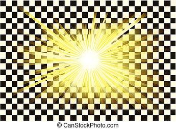 transparente, luz, ou, raios sol, vetorial