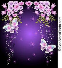 transparente, mariposas, con, flores, y, estrellas