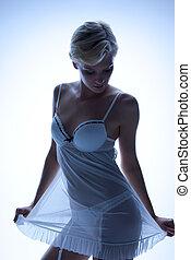 transparente, mulher, lingerie sexy