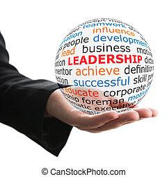 transparente, pelota, con, inscripción, liderazgo