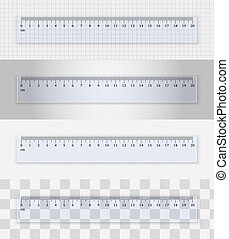 transparente, plástico, 20, regla, centímetros