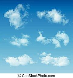 transparente, realista, nubes, en, cielo azul, plano de...