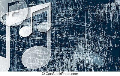 transparente, símbolo música, e, arranhado, fundo