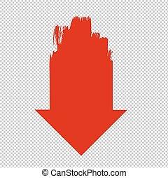 transparente, seta, fundo, vermelho