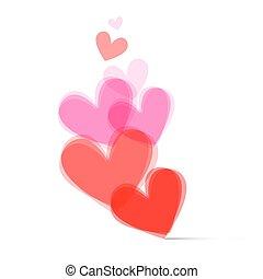 transparente, vetorial, corações, jogo, branco, fundo, vetorial, ilustração