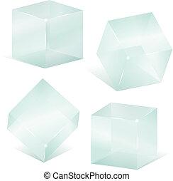 transparente, vidrio, cubos