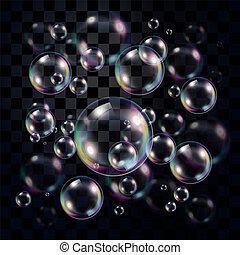 transparente, y, multicolor, jabón burbujea, encima, oscuridad