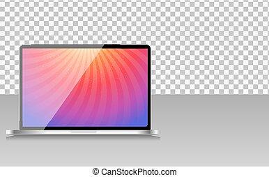transperent, informatique, arrière-plan., ordinateur portable, papier peint, illustration, résumé, réaliste, vecteur, écran
