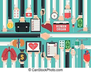 transplatation., projektować, medyczny, ludzki, pojęcie, płaski