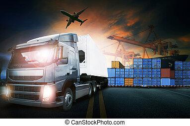 transpo, avion, camion, port, récipient, fret, cargaison