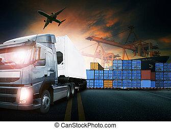 transpo, cargaison, port, récipient, camion, fret, avion