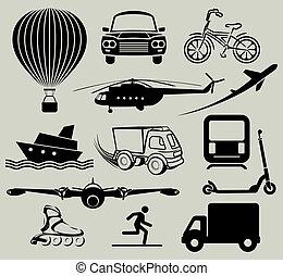transpor, アイコン, 様々, 手段