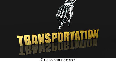 Transporation Industry with Robotic Hand Pointing on Black Background