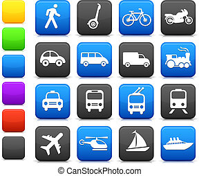 transport, éléments, conception, icônes