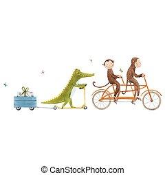 transport., ベクトル, かわいい, イラスト, 水彩画, 美しい, 手, 動物, 株, 引かれる