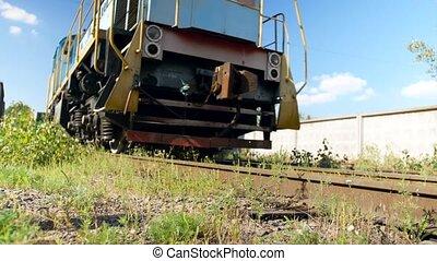 transport, 4k, abandonnés, équitation, cargaison, factory., chemin fer, vidéo, utilisation, locomotive, vieux, chemins fer, diesel, concept, grand