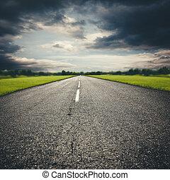 transport, abstrakt, bakgrunder, Motorväg, dramatisk, resa