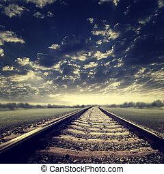 transport, abstrakt, bakgrunder, järnväg, dramatisk, Turism
