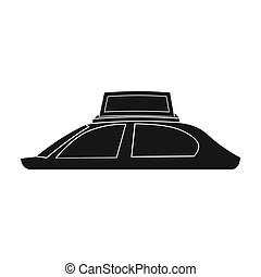 Transport advertising icon in black style isolated on white background. Advertising symbol stock bitmap, rastr illustration.