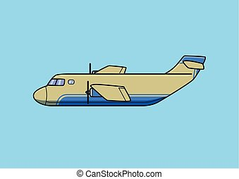 Transport aircraft, cargo airplane. Flat vector illustration. Isolated on blue background.