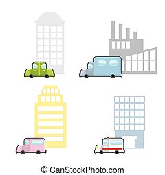 Transport and public buildings set cartoon style. Skyscraper and a car. Ambulance and hospital. Plant and truck.