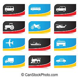 transport., anders, iconen, illustratie, vector, types