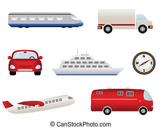 transport, apparenté, icônes