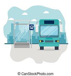 transport, autobus, cityscape, arrêt, public, urbain