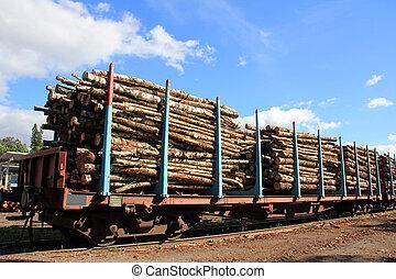 transport, bois, autorails