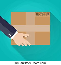 transport, box., tektura, ręka
