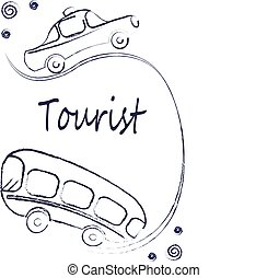 Transport - bus and car on the A4 vertical format. Travel, tourism, travel, go. Styling, graphics