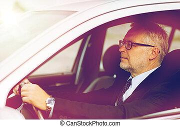 happy senior businessman driving car