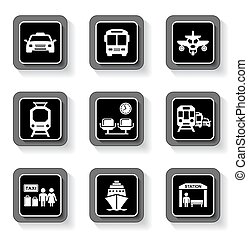 transport buttons with white silhouette