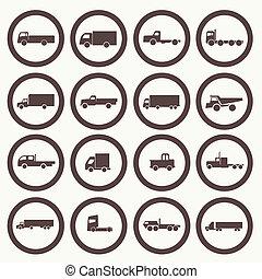 transport camion, icônes