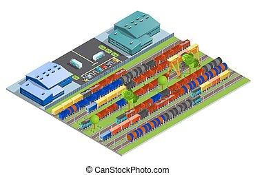 transport, cargaison, chemin fer, isométrique, conception, concept