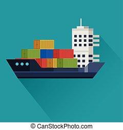 transport, cargaison, fond, bleu, bateau