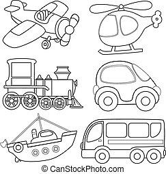 transport., caricatura, coloração, book.