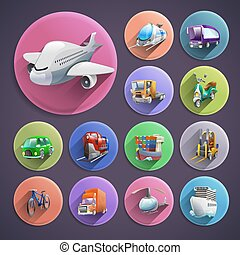 Transport Cartoon Icons Set