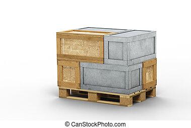 transport, chargé, boîtes, bois, palette, métal