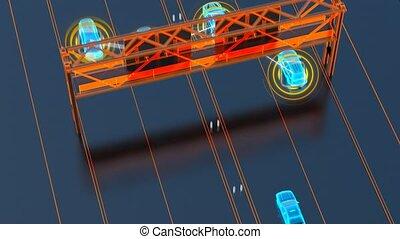 transport, choses, ville, concept, résumé, internet, système, visuel, animation, véhicule, intelligent, piéton, véhicule, infrastructure, 4k, image, autonome, 3d