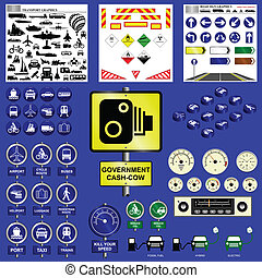 Transport collection including signs icons and much more