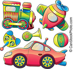 transport, collection, jouets
