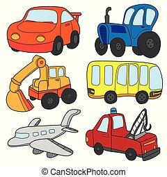 transport, collection., voitures, thème, vecteur, voiture, autobus, camion, dessin animé